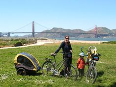 We travel through North America, Canada, the UK and Europe with two small children (number three is still only a twinkle in her dad's eye).   This is me and the kids about to bike the Golden Gate Bridge in San Francisco.