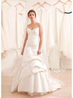 Dupion Silk Strapless V-Neckline A-line Wedding Dress