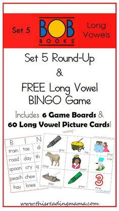 BOB Books~ Set 5 Round Up and FREE Long Vowel BINGO Game | This Reading Mama
