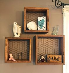 Handcrafted Recycled Pallet Wood Chicken Wire Shadow Box Style Shelves by VintageBEAUTY0206 on Etsy https://www.etsy.com/listing/529567805/handcrafted-recycled-pallet-wood-chicken