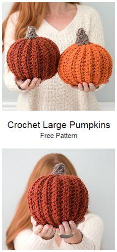 Crochet Pumpkin Pattern, Halloween Crochet Patterns, Crochet Blanket Patterns, Crochet Stitches, Free Pumpkin Patterns, Free Easy Crochet Patterns, Halloween Knitting, Crochet Fall, Free Crochet