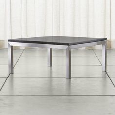Parsons Black Marble Top/ Stainless Steel Base 36x36 Square Coffee Table - Crate and Barrel