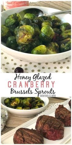Honey cranberry glazed Brussesl sprouts are a festive holiday side dish. Perfect with steak!