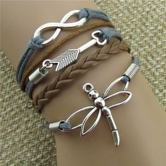 Dragonfly Eight Heart Arrow Leather Bracelet Leather Cord Bracelets, Braided Bracelets, Ankle Bracelets, Leather Jewelry, Homemade Bracelets, Dragonfly Jewelry, Beaded Anklets, Heart With Arrow, Piercings