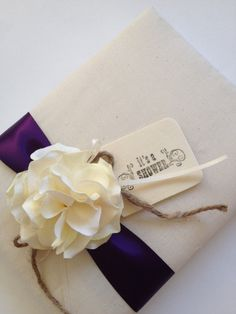 """Custom Design Bridal Shower Guest Book - Ivory Hydrangeas - Your Choice of Ribbon Colors - Hand-stamped """"It's a Shower"""" Wood Tag"""