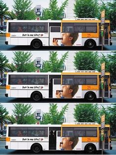 Creative ad using the side of a bus, that speak for itself.    Just in one bite!!