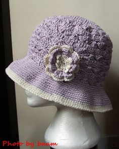 Crochet hat, Summer hat.  English version at:   http://gosyo.co.jp/english/pattern/eHTML/ePDF/1101/3w/amicomo4-1_Bucket_Hat.pdf