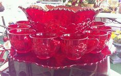 L. G. Wright Glass Co. Ruby Red Complete Daisy & Button Punch Bowl Set