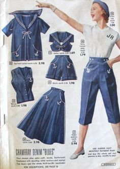 1950s matching summer sialor inspired clothes. Shorts, skirts, middy tops. VintageDancer.com