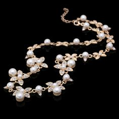 2016 New Good Quality Gold Plated Inlaid With Imitation Diamond Short Choker Pearl Necklace SALE Gift