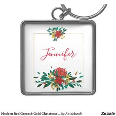 Modern Red Green & Gold Christmas Floral Keychain Green And Gold, Red Green, Charm Rings, Gold Christmas, Green Flowers, Keep It Cleaner, Silver Color, Holiday Cards, Keychains