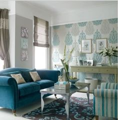 I love large patterned wall paper...    Minty Spaces