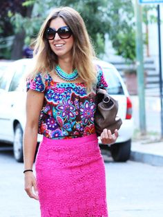Women's Multi colored Floral Short Sleeve Blouse, Hot Pink Lace Pencil Skirt, Brown Leather Clutch, Aquamarine Necklace