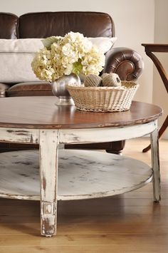 The Painted Hive: Distressed Coffee Table. Possibility for dining room table and China cabinet.
