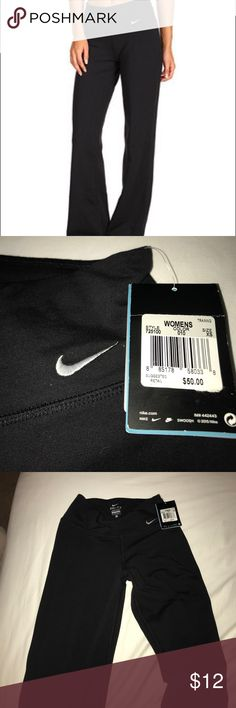 Brand new Nike dri-fit yoga pants Very flexible and cute yoga pants with a flare at the bottom! Perfect condition, never worn! Got them when I had a broken foot and ended up never wearing them Nike Pants Leggings