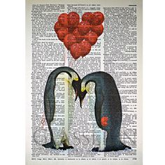 Penguin Love Print on a Vintage Dictionary Page by glasslionstudio, $9.99