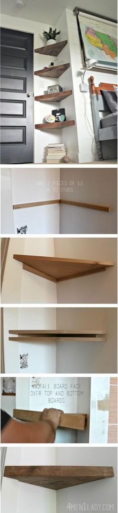 Diy muebles ideas shelves 66 Ideas for 2019 Diy Corner Shelf, Floating Corner Shelves, Corner Storage, Corner Shelving, Floating Desk, Craft Corner, Diy Casa, Home And Deco, Home Organization