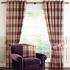 Dorma Herringbone Luxurious Cream and Purple Bloomsbury Check Cotton Lined Eyelet Curtains Dining Room Blue, Purple Curtains, Dining Room Curtains, Plum Living Rooms, Curtain Patterns, Purple Living Room, Beautiful Dining Rooms, Country Living Room, 2 Living Room Ideas