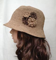 crocheted hat no. H301, rayon raffia hat, straw hat, sun hat, spring summer hat