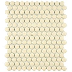 These mesh-mounted mosaic offers new design opportunities with it's classic matte color and penny shape. This tile is glazed porcelain with matte biscuit finish and is perfect for indoor or outdoor use.