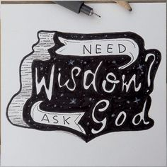 "Day 19/30 #30daysofbiblelettering "" But if any of you needs wisdom, you should ask God for it. He is generous to everyone and will give you wisdom without criticizing you."" James 1:5 #biblelettering #wisdom #bible #bibleverse #bijbel #bijbeltekst #james #handlettering"