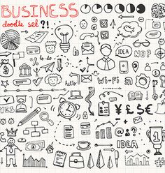 Business doodle element set vector by Favete on VectorStock®