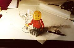 creative 3D pencil drawing of the Lego man