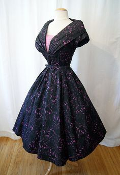 Lovely 1950's Black Taffeta and Pink Floral Print Party Dress