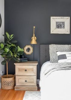 Top-notch Master bedroom remodel,Bedroom remodel apartment therapy and Guest bedroom remodel ideas. Navy Blue Bedrooms, Modern Farmhouse Bedroom, Industrial Farmhouse, Modern Industrial, Farmhouse Decor, Farmhouse Style, Industrial Bedroom, Bedroom Modern, Contemporary Bedroom