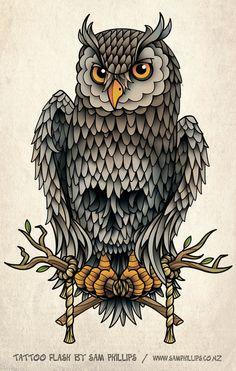 Owl Skull and Crossbones Tatto by Sam-Phillips-NZ.deviantart.com