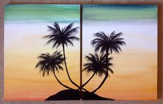 """Sold - Original """"Mystery Island Palms"""" Rotate this artwork to create two different looks. By Art Room 278"""