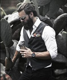 Gentleman With Professional Beard Design Style