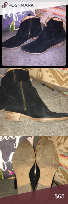 Madewell and Banana Republic Black Suede Boots These adorable black suede ankle-boots are from the limited-edition partnership with Madewell and Banana Republic. Size 7.5, worn twice, wooden soles and heels in excellent condition. I love these but my feet are a bit too wide for these beauties. Madewell Shoes Ankle Boots & Booties