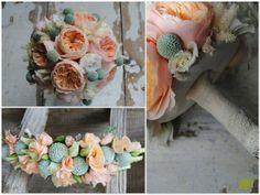 ramo de novia melocotón con rosas David Austin  Juliet. Mayula Flores