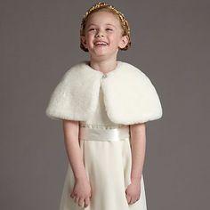 Girl's ivory faux fur shrug - Capes shrugs & cardigans - Occasionwear - Kids - flower girl glam :)