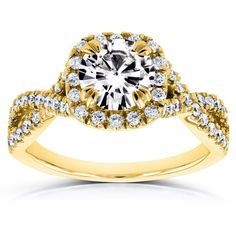 Annello by Kobelli 14k Yellow Gold 1ct Moissanite and 1/2ct TDW Diamond Crossover Ring (GH, I1-I2) (Size