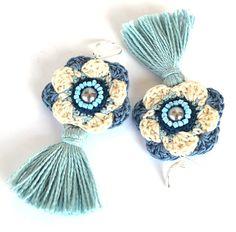 blue crochet earringsstatement blue tassel by Marmotescu on Etsy