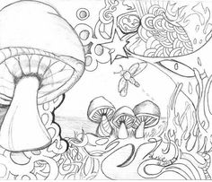 images of mushrooms coloring pages Coloring Pages For Grown Ups, Printable Adult Coloring Pages, Cute Coloring Pages, Flower Coloring Pages, Coloring Pages To Print, Coloring Books, Mushroom Drawing, Mushroom Art, Trippy Drawings
