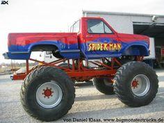 Spider-Man Monster Truck Monster Truck Madness, Monster Truck Racing, Big Monster Trucks, Monster Jam, Ford Trucks, Pickup Trucks, Spiderman Spider, Spiderman Marvel, Monster Truck Videos