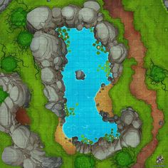 Forest Lagoon Battle Map by Hassly on DeviantArt Pen And Paper Games, Pen & Paper, Diorama, Forest Map, Building Map, Map Pictures, Dungeon Maps, Fantasy Map, City Maps