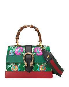 GUCCI Dionysus Medium Jacquard Top-Handle Satchel Bag. #gucci #bags #leather #lining #satchel #metallic #shoulder bags #hand bags #