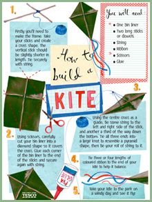 Day 1:  Go fly a kite!   Make your own kite out of a bin liner, string, ribbon and sticks, following these simple and crafty step-by-step instructions. All you need now is a bit of wind! #31daysofFUN