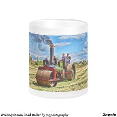 Aveling Steam Road Roller 10 Oz Frosted Glass Coffee Mug