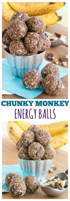 Chunky Monkey Energy Balls - a quick, healthy snack loaded with chunks of dark chocolate and walnuts, sweet bananas, and a few superfoods. | cupcakesandkalechips.com | gluten free, dairy free, vegan recipe
