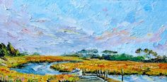 """This plein-air piece, """"The Inlet at Gargatha,"""" is 24x48, and marvelously rich in color and texture."""