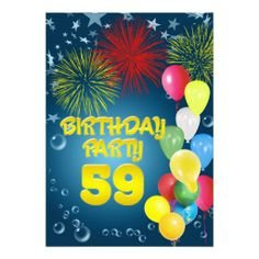 59th Birthday party Invitation with balloons