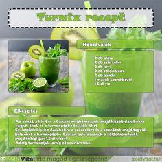 Egy finom banános zöldturmix receptje #turmix #recept #vegan #zöldturmix Celery, Ale, Smoothies, Health Fitness, Herbs, Vegetables, Drinks, Food, Beverages