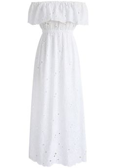 A Dream of Spring Off-shoulder Maxi Dress in White - New Arrivals - Retro Indie and Unique Fashion Day Dresses, Cute Dresses, Casual Dresses, Fashion Dresses, Prom Dresses, Formal Dresses, Floral Sundress, Ruffle Dress, Dress Up
