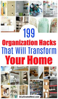diy organization 199 Home Organization Hacks- Getting your home neat and tidy wont be hard, once youve seen these 199 inspiring (and genius) home organization hacks! Organisation Hacks, Organizing Hacks, Small Space Organization, Household Organization, Home Office Organization, Organizing Your Home, Cleaning Hacks, Organising, Bathroom Organization
