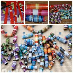 """How to Make Beads out of old paper - such a fun and wonderful way to upcycle and a great """"child hood classic"""" craft - save those scraps of wrapping paper and see what you can make!"""